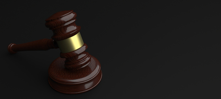 Wooden judge or auction gavel on the table. 3d illustration.