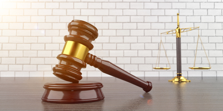 Judge gavel with golden beam balance. 3d illustration.