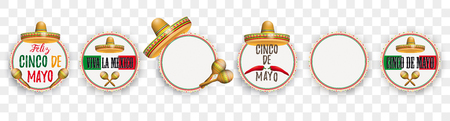 Set of emblems for the Cinco de Mayo. Eps 10 vector file. Çizim