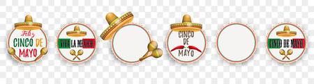 Set of emblems for the Cinco de Mayo. Eps 10 vector file. Illustration