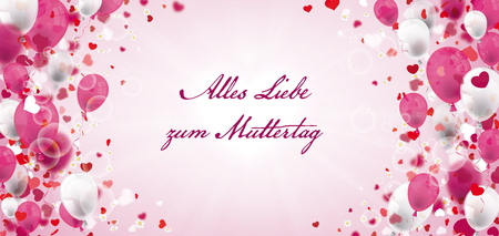 German text Alles Liebe zum Muttertag, translate Happy Mothers Day. Eps 10 vector file. Stock Illustratie