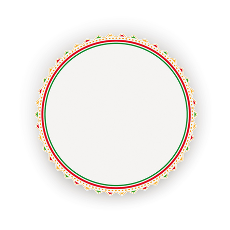 Emblem with mexican ornaments on the white background. Eps 10 vector file.