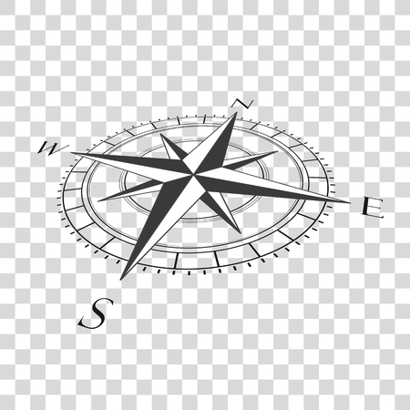 Compass cardianl points on the checked background. Eps 10 vector file.