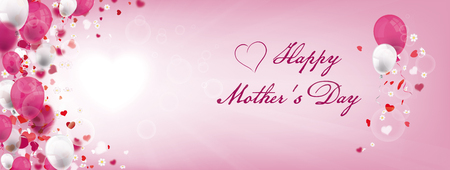 Balloons with hearts, cherry blossoms and text Happy Mothers Day. Eps 10 vector file.