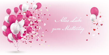 German text Alles Liebe zum Muttertag, translate Happy Mothersday. Eps 10 vector file.