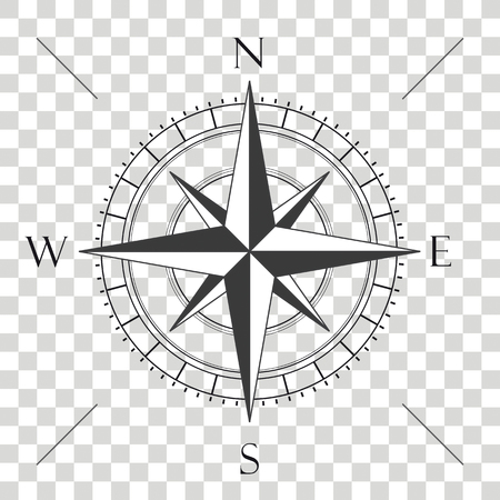 Compass cardianl points on the checked background.  Eps 10 vector file. Stock Illustratie