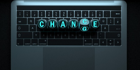 Notebook keypad with the text Change Chance. 3d illustration. Stock Photo