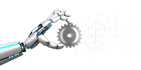 Humanoid robot hand with a gear wheel and circuit diagram. 3d illustration. Banco de Imagens