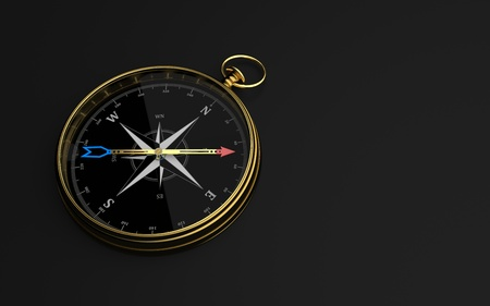 Golden compass on the dark background. 3d illustration. Banque d'images - 123872056
