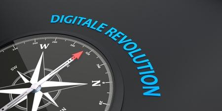 German text Digitale Revolution, translate Digital Revolution. 3d illustration. Standard-Bild - 123872060