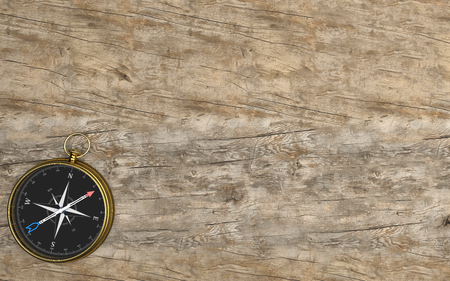 Golden compass on the wooden background. 3d illustration. Banque d'images - 123872080