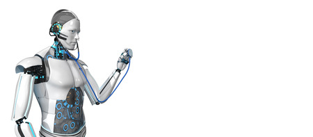 Humanoid robot as a medical assistant with a stethoscope. 3d illustration.
