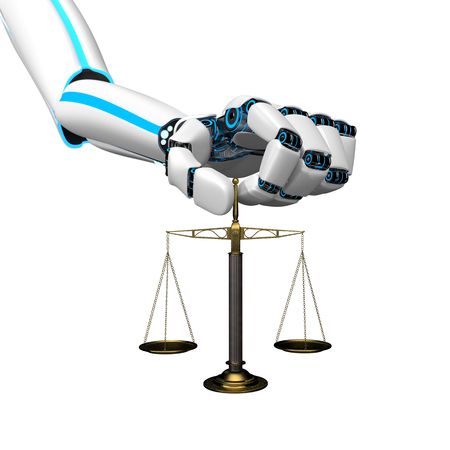 Humanoid robot hand with a beam scale. 3d illustration. Stock Photo