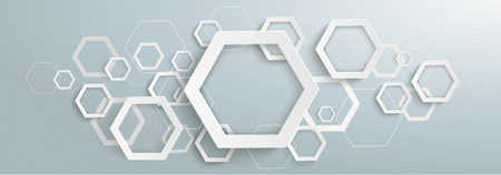 Gray banner with abstract hexagon structure. Eps 10 vector file. Ilustração