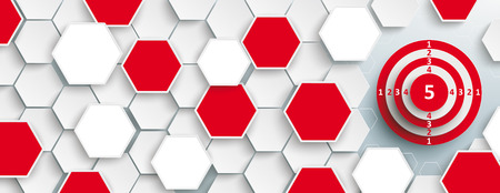 Hexagon structure with red target on the gray background. Eps 10 vector file. Illustration