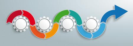 Banner de infografía con flecha con 4 engranajes en el fondo gris. Archivo de vector EPS 10. Ilustración de vector