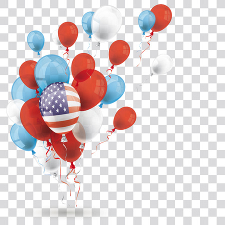 Colored balloons with US Flag on the checked background. Eps 10 vector file. Illustration