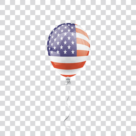 Balloon with US Flag on the checked background. Eps 10 vector file. Illustration