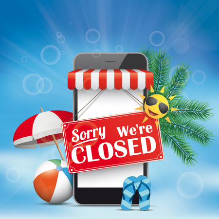 Smartphone shop with sign Sorry, We Are Closed. Eps 10 vector file.