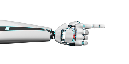 Robot hand points the direction. 3d illustration.