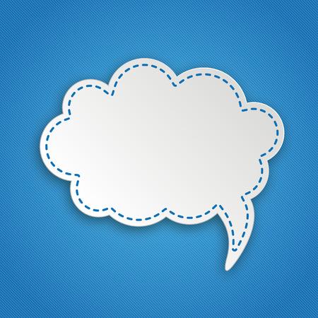 Papierwolken mit hängendem Wolkenaufkleber auf blauem Hintergrund. EPS-10-Vektordatei. Vektorgrafik