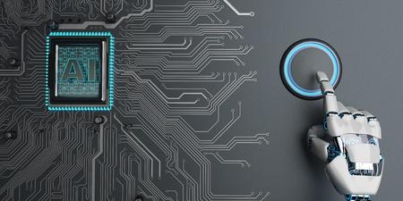 Humanoid robot presses the start button. 3d illustration.