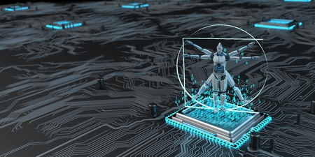 A circuit board with microchip and digital vitruvian robot. 3d illustration.