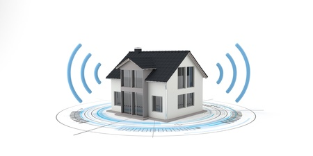 Smart home, house with antenna on the white background. 3d illustration. Banco de Imagens
