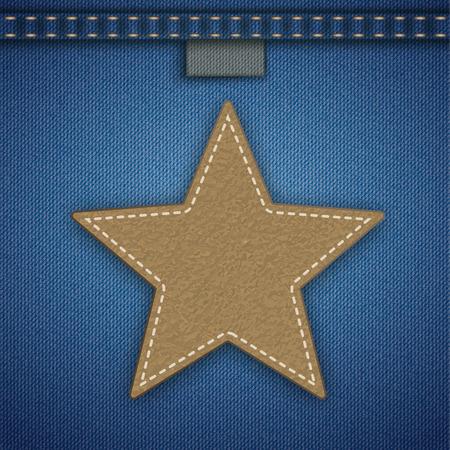Blauer Jeansstoff mit braunem Lederstern. EPS-10-Vektordatei.