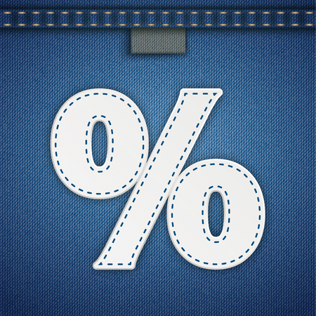 Blue jeans fabric with a white percent with blue seam. Eps 10 vector file.