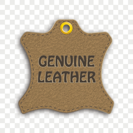 Hanging sticker with the text Genuine Leather. Eps 10 vector file.