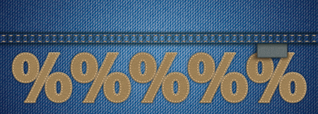 Blue jeans fabric with 5 brown leather percents with blue seam. Eps 10 vector file. Stock Illustratie