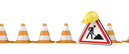 Im Bau befindliches Banner mit Verkehrskegeln, Bauarbeiterhelm und Straßenschild. 3D-Darstellung. Standard-Bild