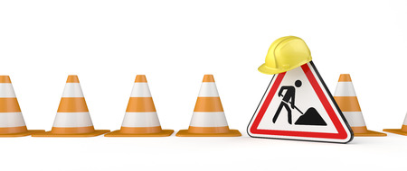 Under construction banner with traffic cones, hardhat and road sign. 3d illustration.