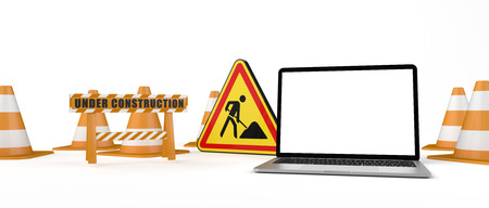 Under construction banner with traffic cones, notebook and road sign. 3d illustration. Banco de Imagens