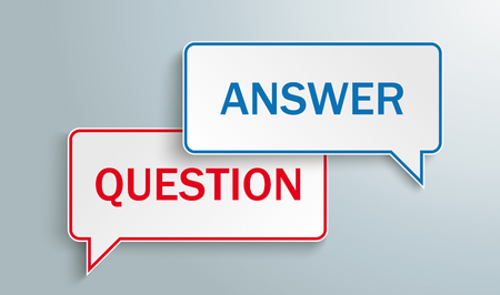 2 speech bubbles with the text Question, Answer on the gray background. Eps 10 vector file.