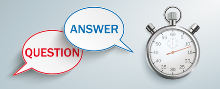 Stopwatch with speech bubbles with the text question, answer on the gray background. Eps 10 vector file.