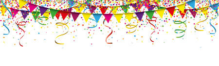 Colored confetti with ribbons and festoons on the white. Eps 10 vector file. Illustration