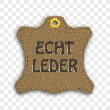 German text Echtleder, translate Real Leather. Eps 10 vector file.