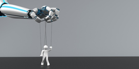 A robot hand with a marionette. 3d illustration. Stock Photo
