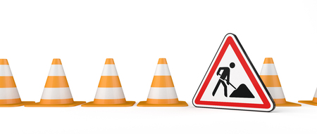 Under construction banner with traffic cones and road sign. 3d illustration. Stock Illustration - 124598342