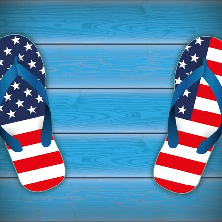 Flip-flops in US national colors on the blue wooden background.  Eps 10 vector file.