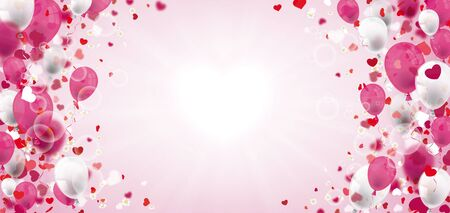 Balloons with sunbeam, hearts and cherry flowers. Eps 10 vector file.