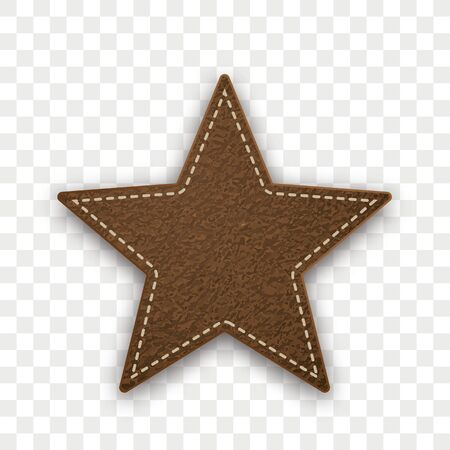 Brown leather star on the checked background. Eps 10 vector file. Illustration