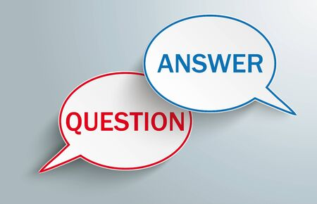 2 oval speech bubbles with the text Question, Answer on the gray background. Eps 10 vector file. Иллюстрация