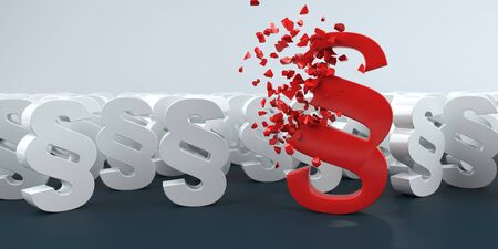Exploding red paragraph with smal white paragraphs on the table. 3d illustration. Stock Photo