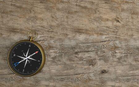 Golden compass on the wooden background. 3d illustration. Banque d'images - 126114943