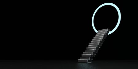Staircase with the ring to the other dimension. 3d illustration. Stockfoto