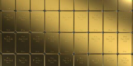 Fine gold bars 10 Oz. 3d illustration.