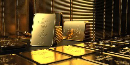 Lingotti d'oro fino 10 Oz sul tavolo. illustrazione 3D. Archivio Fotografico